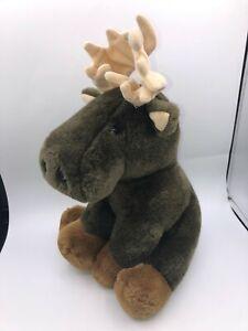 Vintage-Althans-Club-Brown-Moose-Bear-Plush-Soft-Stuffed-Toy-Animal-Doll-Germany
