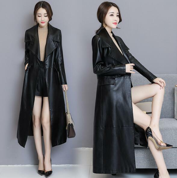 Korean Women Slim Fit Lapel Luxury PU Leather Long Sleeve Trench Coat Parkas New