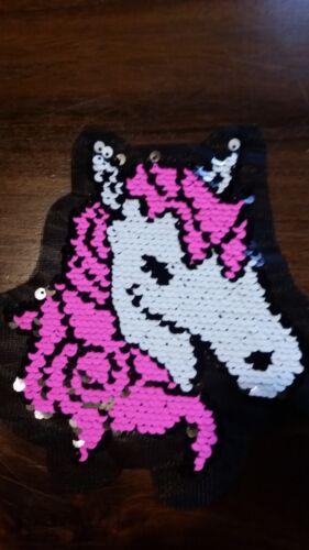 XL-Patch unicornio rosa blanco caballo inflexión lentejuelas aplicación patch para girar