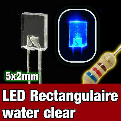 324B//25# LED rectangulaire 5x2 Bleu 25pcs Rectangular LED blue