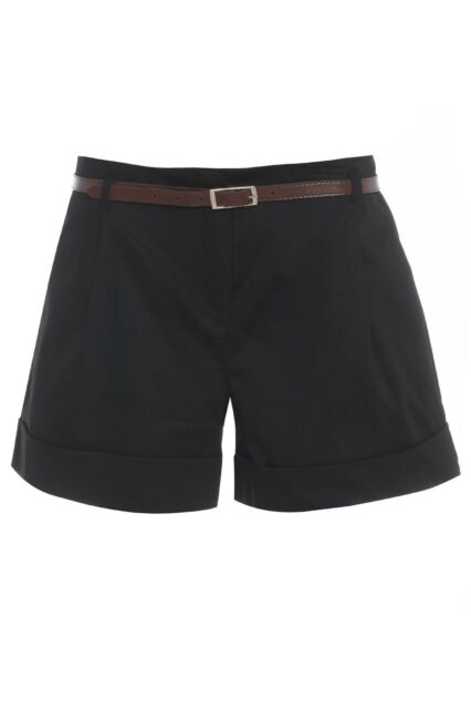 New WOMENS black/stone LADIES belted high waisted shorts hot pants sizes 12-20