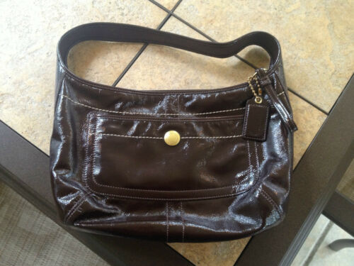 COACH PATENT LEATHER ERGO HOBO BROWN-EUC