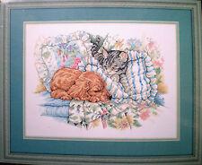 "JCA Elsa Williams Kitten & Puppy ""Wake Up Call"" Counted Cross Stitch Kit"