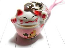 Pink Maneki Neko Cell Phone Hanging Japanese Cat For Lucky Charm Bell Inside