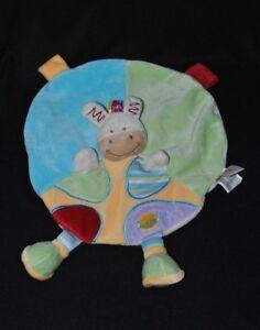 Peluche-doudou-zebre-cheval-ane-plat-rond-indien-BABY-039-NAT-vert-bleu-NEUF
