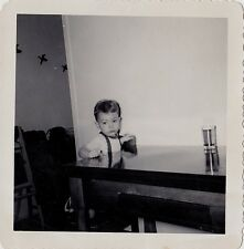 Vintage Antique Photograph Adorable Little Boy Sitting At Kitchen Table