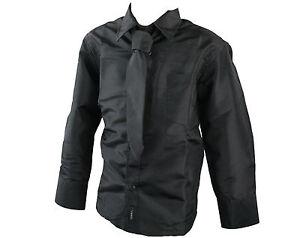 Kids Boys Shiny Shirt Tie Set Lilac Black Grey Maroon | eBay