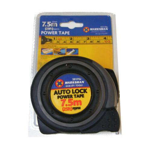 7.5 METER 25 FEET MARKSMAN DURABLE HEAVY DUTY AUTO LOCK POWER TAPE MEASURE NEW
