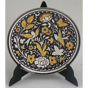 Damascene-Gold-amp-Silver-Miniature-Round-Decorative-Plate-by-Midas-Toledo-Spain