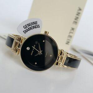 Anne Klein Watch * 1980BKGB Diamond Black & Gold Steel Bangle COD PayPal