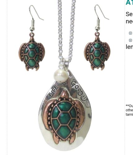 Sealife Theme Rustic Metal Turquoise Turtle Life Is Good Long  Necklace Earrings