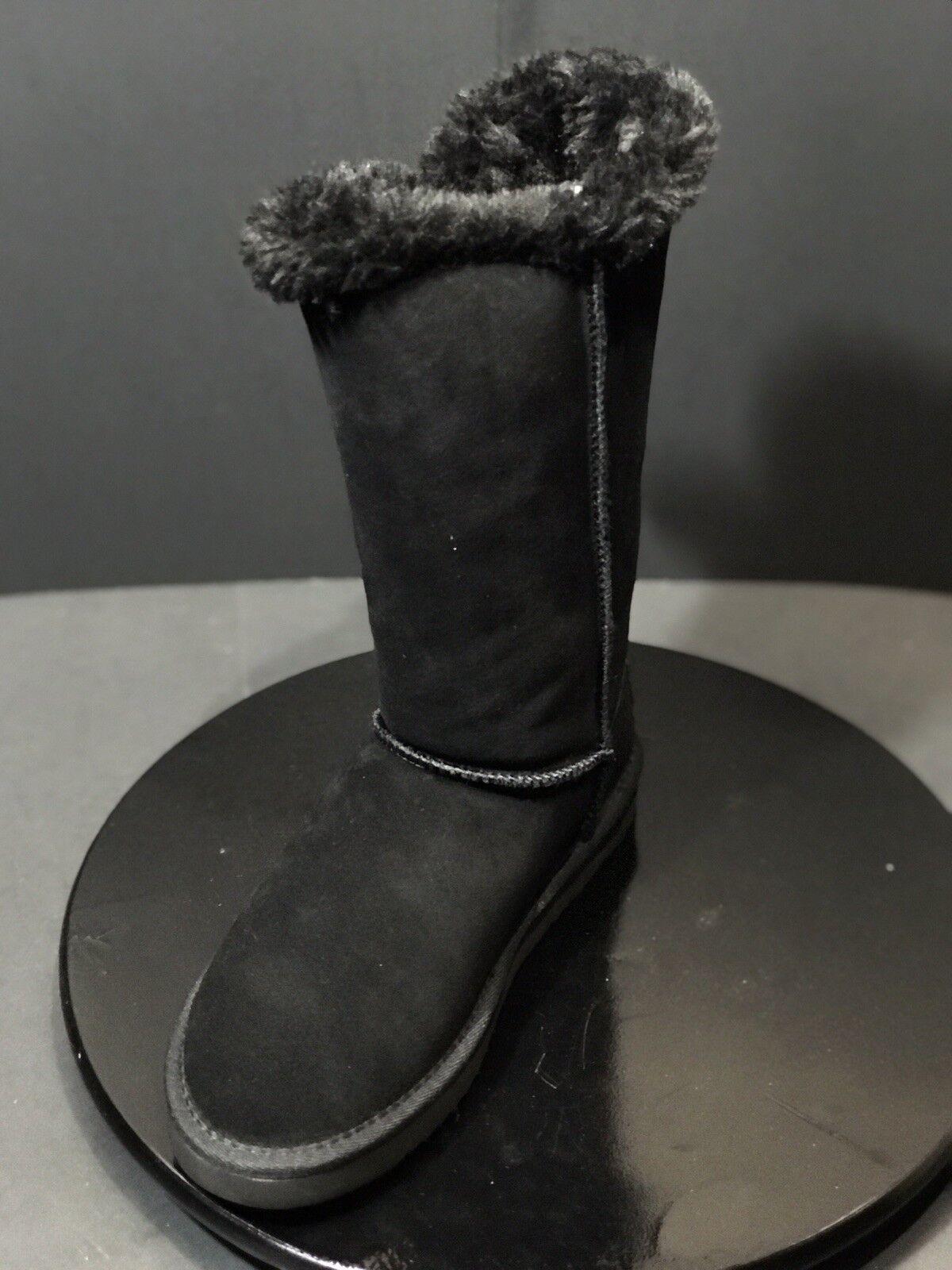 Nuevo Mujeres flojos cember dos botones Negro Gamuza botas Altas Invierno Negro botones Tamaño nos 8 M dae489