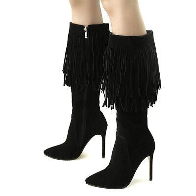 0d3cbde79ba Women Knee Boots Tassels Sexy Pointed Toe Super High Heels Winter ...
