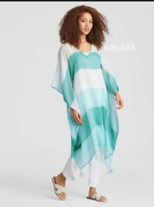 EILEEN FISHER COTTON COLORBLOCK PONCHO CAFTAN COVER UP GREEN POOL TASSELS NWT