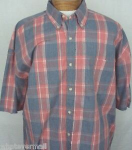 Big-and-Tall-Sport-Shirt-SS-Saddlebred-Casual-Mens-Coral-Htr-Plaid-NWT-New-2XLT