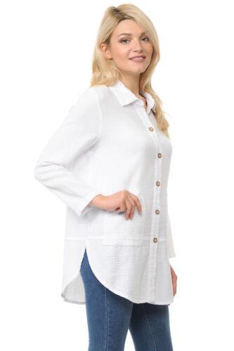 Focus Fashion Women/'s Cotton Mini Waffle Tunic Top Shirt