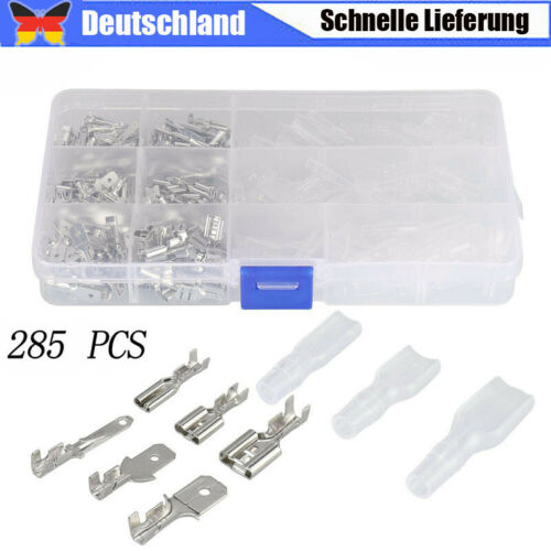 285x Crimpen Set Flachstecker Isoliert 2.8//4.8//6.3mm Crimpverbinder Kabelschuhe