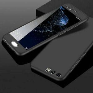 For Huawei P30 Pro Lite Full Body Case Shockproof 360° Slim Black+Tempered Glass