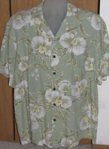Kalaheo-Men-039-s-Large-Made-in-Hawaii-Orchid-100-Rayon-Tropical-Aloha-Wear-Shirt