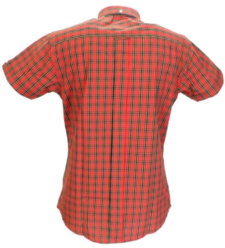 Relco Red Tartan 100/% Cotton Short Sleeved Vintage//Retro Mod Button Down shirts