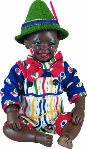 Clown Dandy New Porcelain Afro African American Brown Black Dark Baby Boy Doll