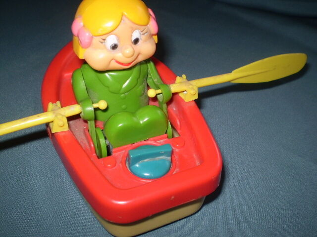 RARE TOY doll with a rowboat mechanical bakelite  WORKS Boys & Girls