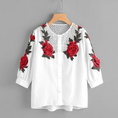 Ladies Shirt Long Sleeve T-Shirt Embroidered Casual Blouse Loose Pullover Tops