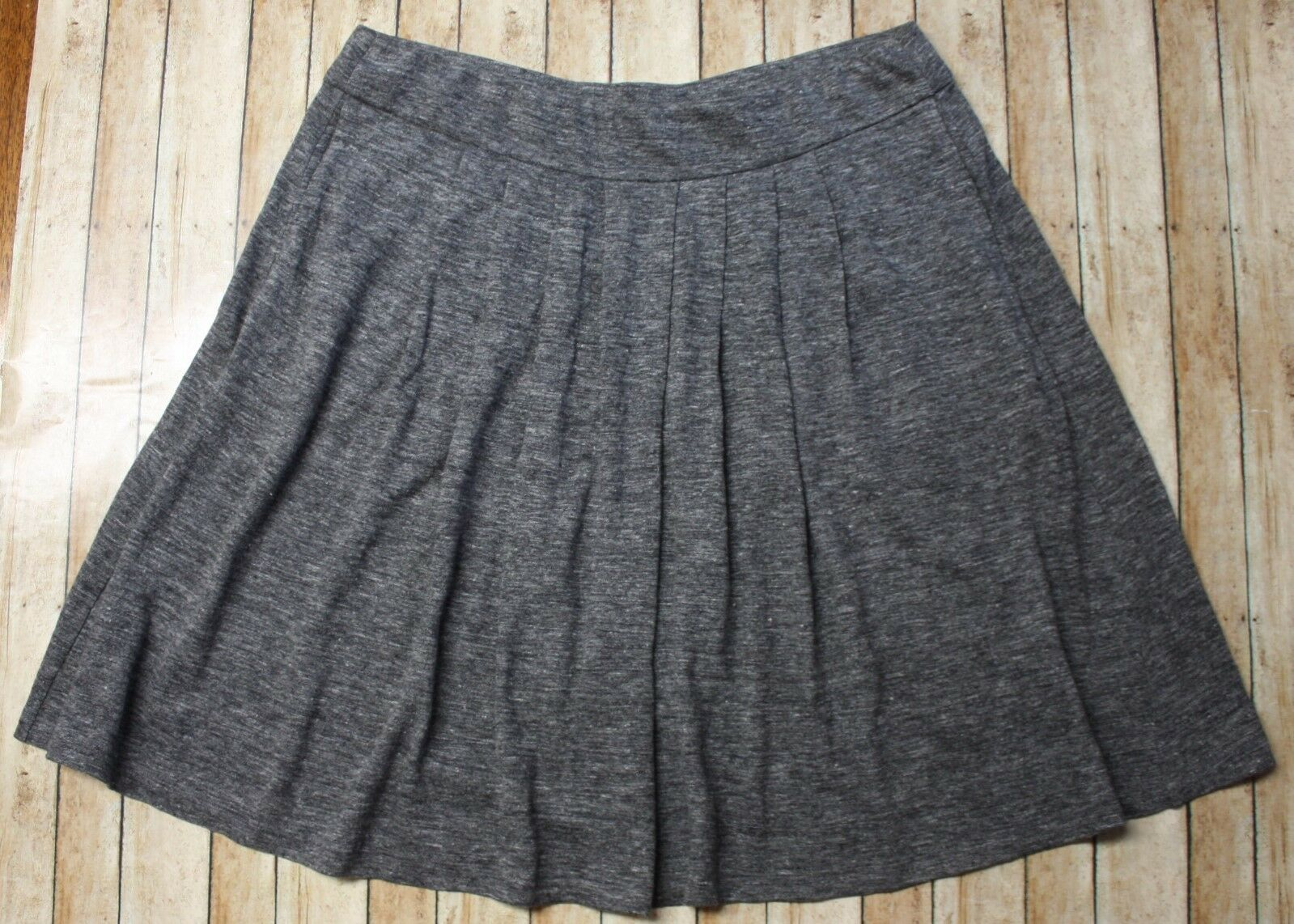 Eileen Fisher Linen Jersey Melange Pleated Skirt Womens Small Graphite Grey