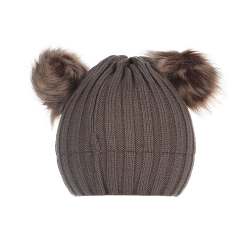 Newborn Baby Boy Girls Double Fur Pom Winter Warm Bobble Knit Beanie Hat Cap