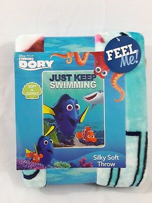 """Baby Personalized Disney Pixars Finding Dory """"just Keep Swimming"""" 40 X 50 Soft Throw Without Return"""