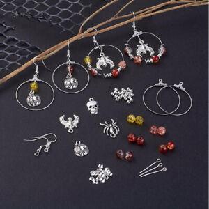 177x-Set-DIY-Halloween-Charm-Dangle-Earrings-Making-Kit-Kidney-Earwire-Hoops-YK