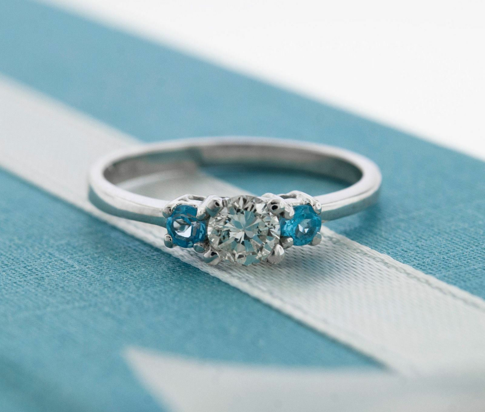 Round Cut Diamond & bluee Topaz 3 Stone Engagement Ring 14K White gold
