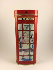 Bentley-039-s-Empty-Tin-Box-Container-Red-Telephone-Booth-Little-Girl-on-Phone-4-75-034