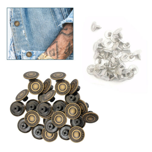 10 X 17mm Hammer On Denim Replacement Jeans Buttons Brass Tack Alloy Studs
