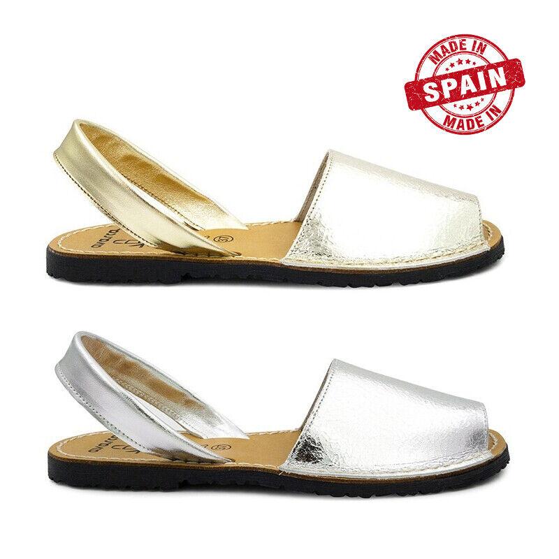 Avarcas Menorca Leather Metallic Silver gold Size 35 36 37 38 39 40 41 Spain