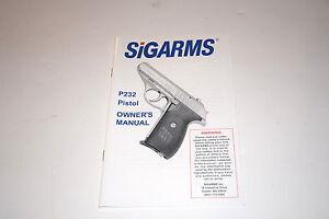 sig arms sig sauer p232 pistol instruction manual booklet blued 380