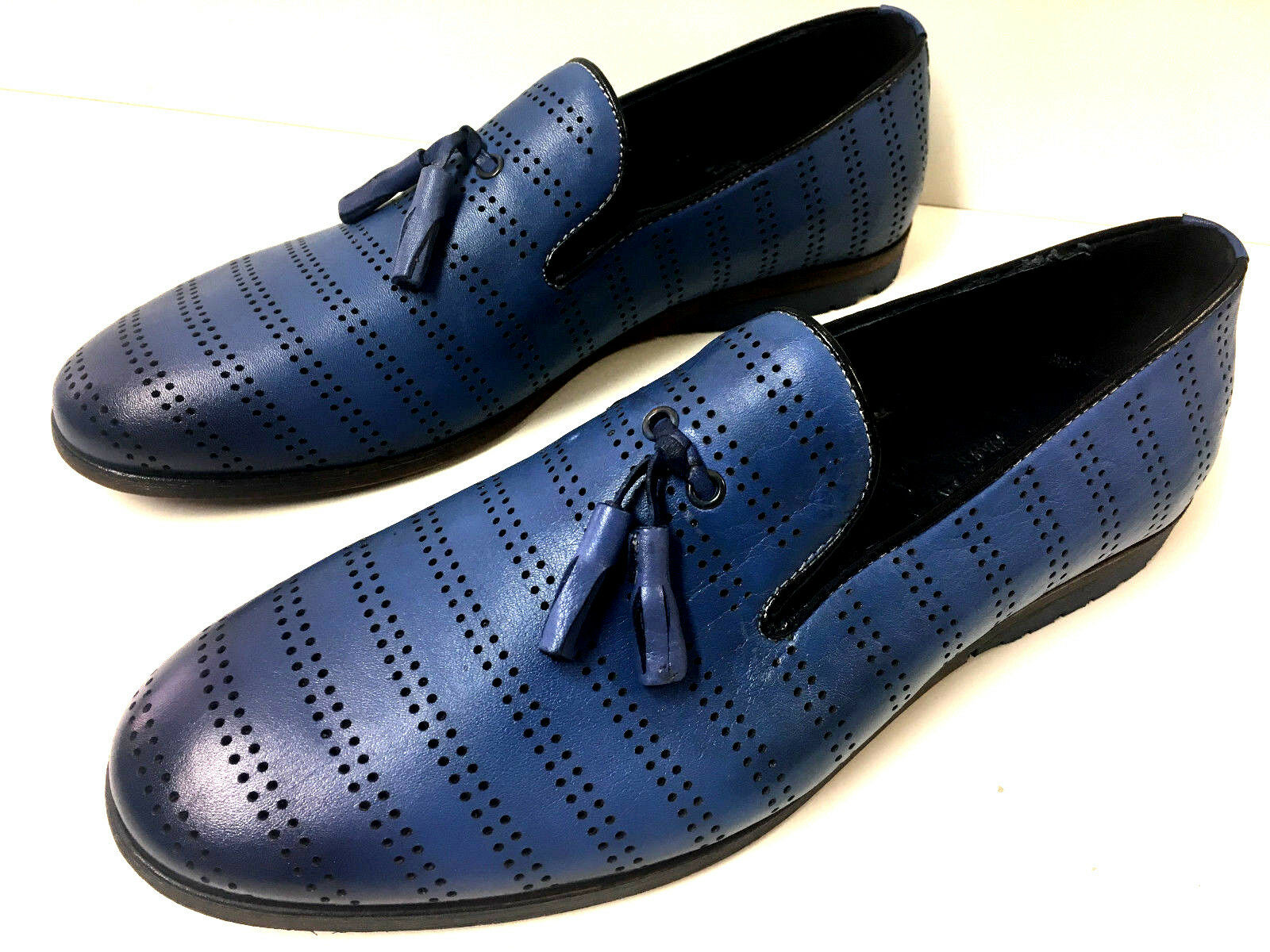 Nuovo Mode Mocassino Mocassini Loafer pelle Blu Sautope con Fori Morbide Sautope classeiche da uomo