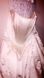 847df1305c12 Image is loading suzanne-neville-wedding-dress-Ivory-Satin-Size-20-