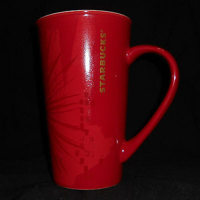 2014 Starbucks Coffee Mug Tall 17.8oz Red Starburst Pattern