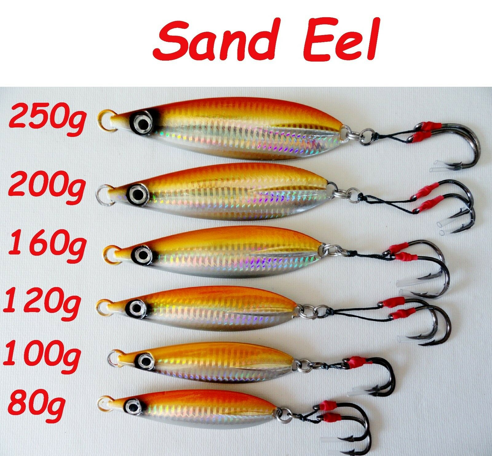 1-10 Pieces Flat Fall Keel greenical Jigs Sand Eel 80g 100g 120g 160g 200g 250g
