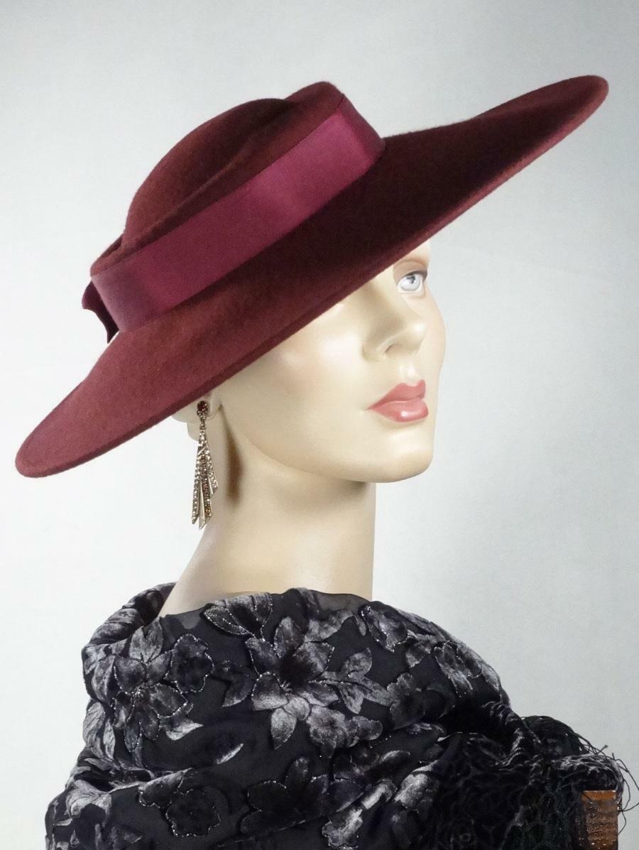 1930s 1940s Style Platter Hat Burgundy Wool Wide … - image 10