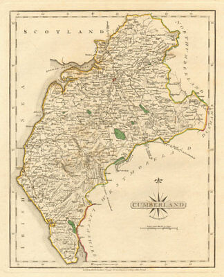 Europe Maps Fine Antique County Map Of Cumberland By John Cary Original Outline Colour 1793