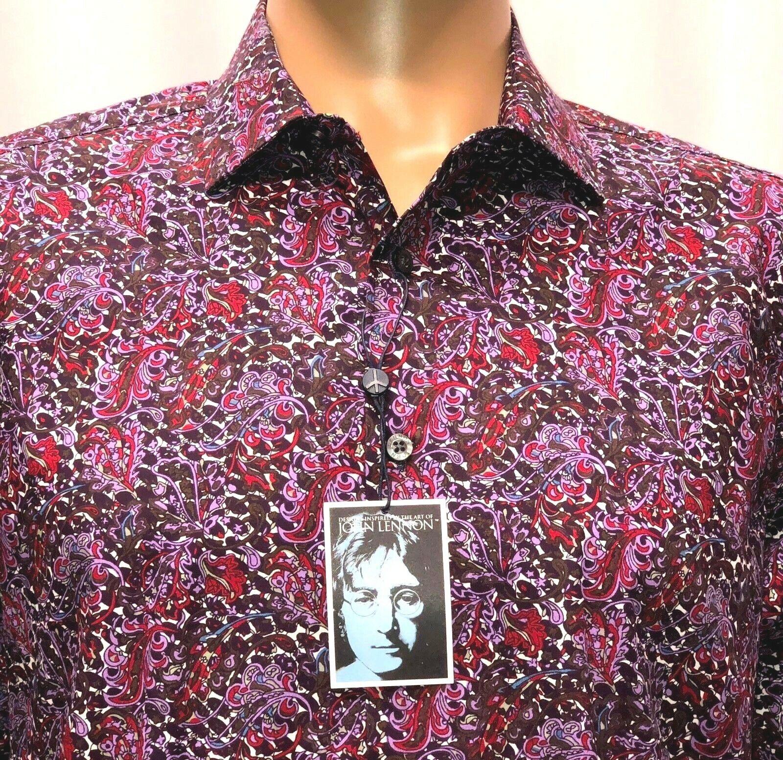 3392fd8ab New John Lennon Mens Shirt Medium Purple Red Design Peace Sign Self  Portrait NWT