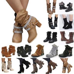 Damen-Mittel-Kalb-Boots-Blockabsatz-Militar-Knochel-Work-Stiefel-Stiefeletten