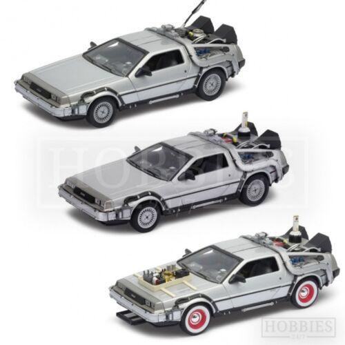 Welly Retour vers le Futur DeLorean 1:24 voiture modèle BTTF 1 2 3 film Time Machine
