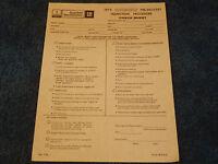 Gm 1979 Oldsmobile Dealer Sheet Cutlass 88 98 Inspection Paper Hurst Olds 79