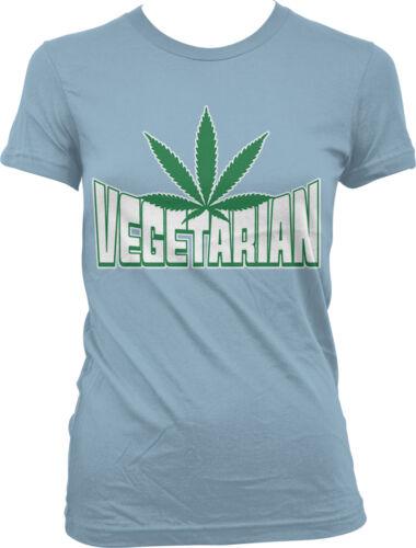Vegetarian Marijuana Leaf Pot Smoke Green Funny Sayings Juniors T-shirt