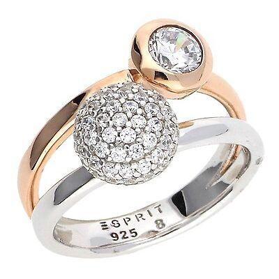 Esprit Damen Fingerring 925 Silber Silber-Rosegold Double Embrace Glam ESRG92396