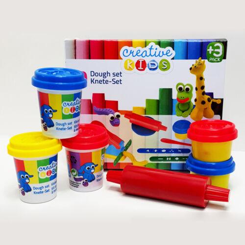10 teiliges Knete Set Kinderknete Knetroller Muster Presse 5 Dosen Knet Spatel