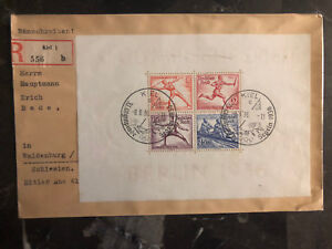 1936 Kiel Berlin Germany Olympics Souvenir Sheet Cover to Waldenburg # B91